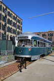 Old tram in front of Fairway Market in Red Hook section of Brooklyn Stock Photos