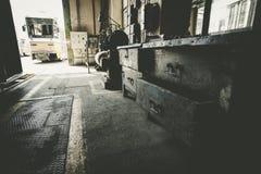 An old tram garage, tool storage drawers Stock Photo