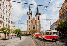 Old tram goes through the city center Royalty Free Stock Photo