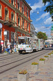 Old tram is in the historic center of Lviv, Ukraine Royalty Free Stock Images