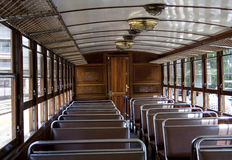 Old tram interior Stock Photo