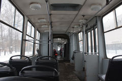 Old tram interior Stock Images