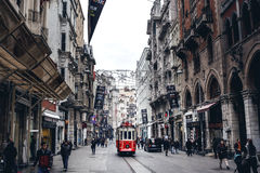 Old tram at Istiklal Avenue Stock Photography