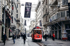 Old tram at Istiklal Avenue Stock Photos