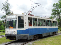 An old tram in Khabarovsk. The tram on Amur boulevard Royalty Free Stock Photo