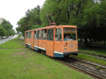 An old tram in Khabarovsk. The tram on Amur boulevard Stock Photo