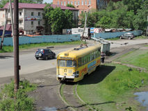 An old tram in Khabarovsk. The old yellow tram on Amur boulevard Royalty Free Stock Images