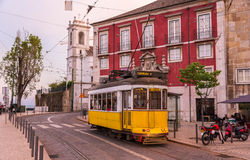 Old tram on a Lisbon street Royalty Free Stock Photos