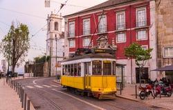 Old tram on a Lisbon street Royalty Free Stock Photos