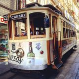 Tram in Lisbon stock photo