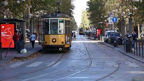 Old tram. MILAN, ITALY - OCTOBER 2017; Old tram, historic public transport, in Sempione Gate area stock footage