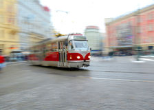 Old tram in motion blur in Prague Stock Photos