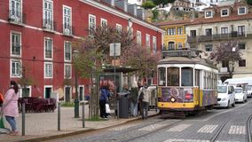 An old tram in Lisbon stock footage
