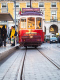 Old tram on the Praca do Comercio in Lisbon Royalty Free Stock Photos
