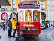 Old tram on the Praca do Comercio in Lisbon Royalty Free Stock Photography