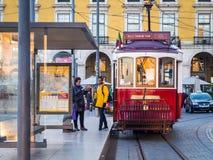 Old tram on the Praca do Comercio in Lisbon Royalty Free Stock Photo