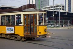 Old Tram runs on the tracks. Near the financial area of Milan. Viale Luigi Sturzo Milano Stock Photography