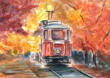 Old tram in sketch style Royalty Free Stock Images