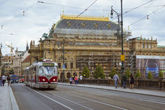 Old tram Skoda on the bridge of the Legions (Most legii) Royalty Free Stock Photography