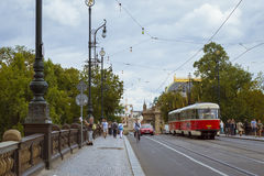 Old tram Skoda on the bridge of the Legions (Most legii) Royalty Free Stock Images