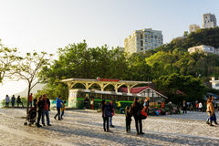 Old tram on the square near the Victoria Peak in Hong Kong Stock Image