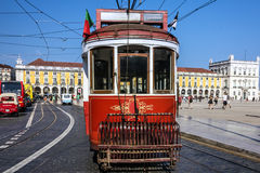 Old tram 28 on the street of Lisbon, Portugal. Royalty Free Stock Photo
