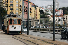 Old tram in the street of Porto, Portugal Stock Photography