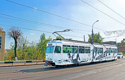 Old tram on a street Stock Photos
