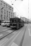 Old tram on the streets of Dalian, China stock image