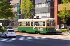 Old tram in the streets of Hiroshima Stock Images