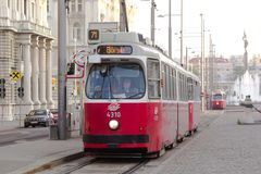 The old tram and  on the streets of Vienna Royalty Free Stock Photo