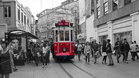 Old tram in taksim. Old tram and crowd in Istiklal Caddesi, Taksim, Turkey Stock Photography
