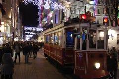 Old tram in Taksim neighborhood Istanbul Stock Images