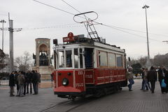 Old tram in Taksim square Istanbul Stock Photography