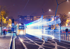Old Tram At Train Central Station And Speed Motion Light Royalty Free Stock Image