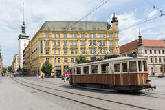 Old tram train on Liberty Square, the centre of Brno Stock Image