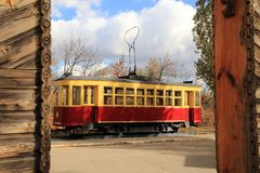 Tram of the old model. Saratov, Russia. stock photo