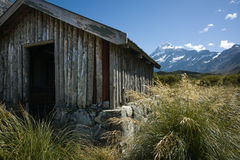 Old trampers hut in mountains Stock Image