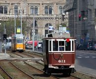 Old trams in Budapest Stock Image