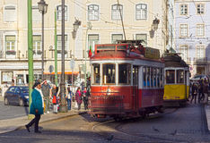 Old trams in lisbon Stock Photography