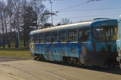 Old tramway model with graffiti Stock Image