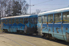 Old tramway model with graffiti Royalty Free Stock Images