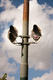 Old tramway signal. Old tramway line light signals Stock Photos