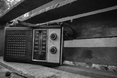 Old transistor radio for music lovers. The old transistor radio receiver of Soviet times, 80-ies. Old school is a thing for music lovers Stock Photo