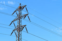 Old transmission tower also power tower or electricity pylon wit Royalty Free Stock Photos