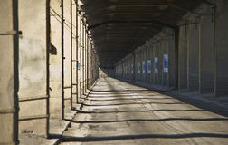 Old transport bridge with concrete columns Royalty Free Stock Photography