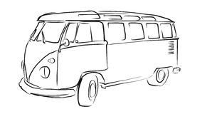 Old Transporter Sketch, Vector Drawing. Separated on White Stock Photos