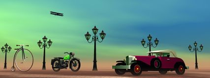 Old transports. Old car, plane, motorbike and bicycle next to streetlamps in green background Royalty Free Stock Image