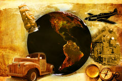 Old travel. Old paper background with earth and some traffic Stock Photography