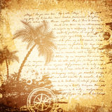 Old Travel Letter Background. Vintage Travel Letter (18 Century) Grunge Background With Palms and Compass Stock Photos